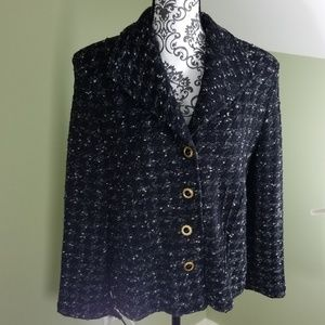 St. John Collection Black & White Knit Suit Blazer